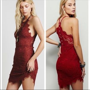 NEW Free People Red Lace Slip Dress Size Small